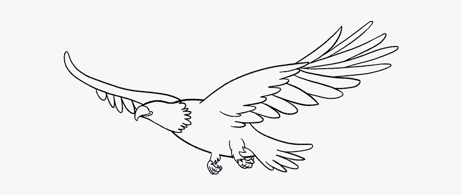 How To Draw An - Eagle Flying Drawing Easy, Transparent Clipart