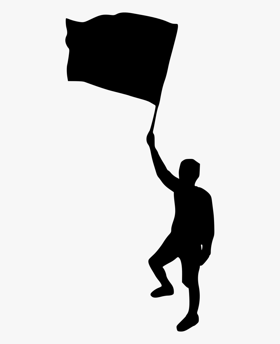 Man With Flag Silhouette Png, Transparent Clipart