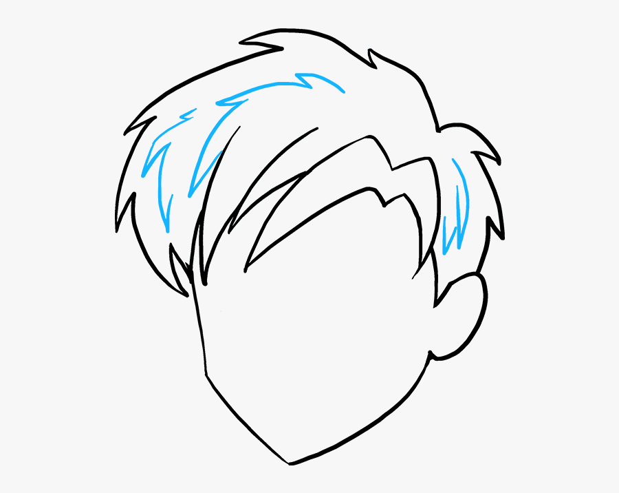How To Draw Manga Hair - Simple Male Anime Hair Drawing, Transparent Clipart