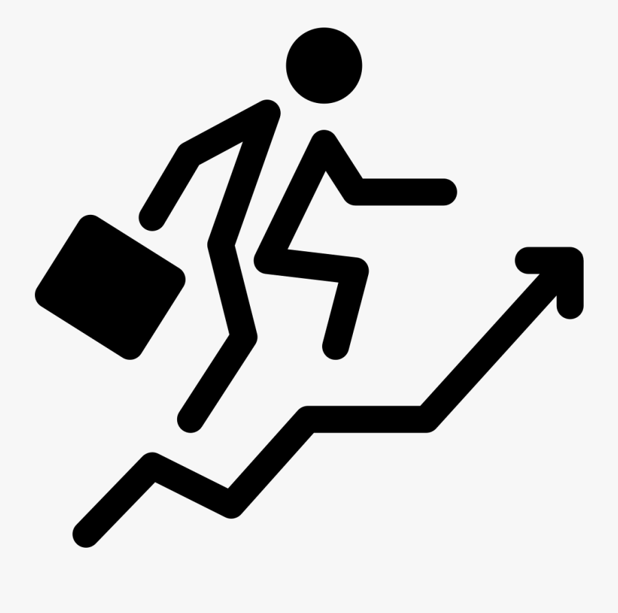 Businessman With Ascending Stair - Business Man Stairs Icon, Transparent Clipart
