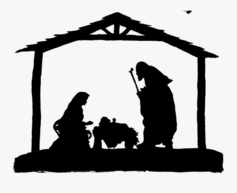Christmas Manger Png Photo - Nativity Scene Black And White, Transparent Clipart