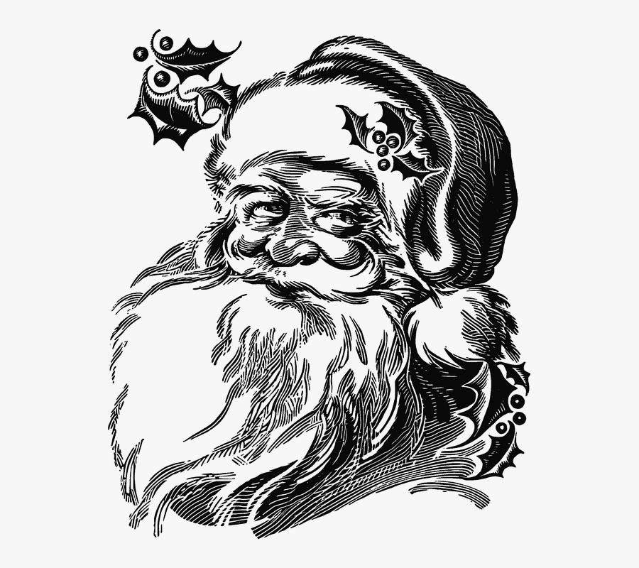Realistic Santa Claus Drawing, Transparent Clipart