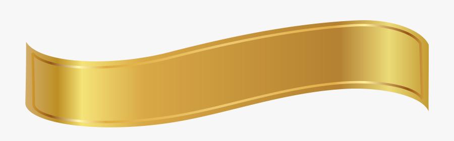 Transparent Banner Shape Png - Gold Ribbon Clipart Png, Transparent Clipart