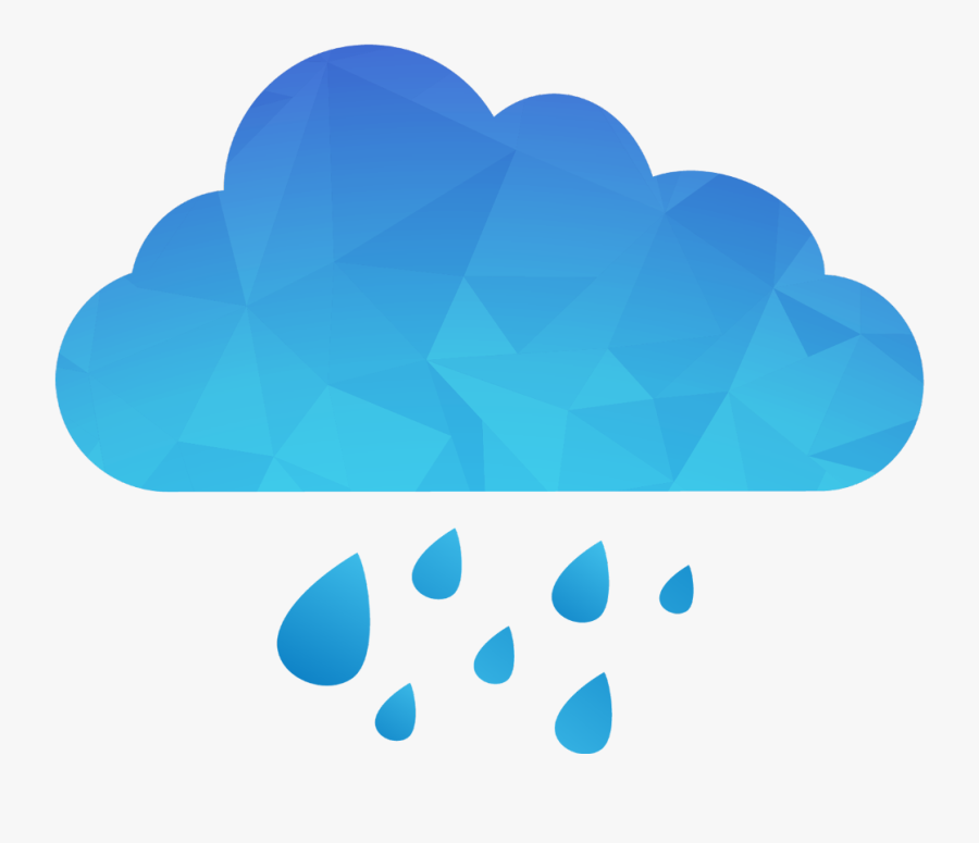 #ftestickers #clipart #cloud #rain #polygon #blue - Cloud With Rain Png, Transparent Clipart