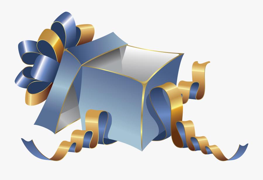 Transparent Blue Large Gift Box Png Clipartu200b Gallery - Gift Box Open Png, Transparent Clipart