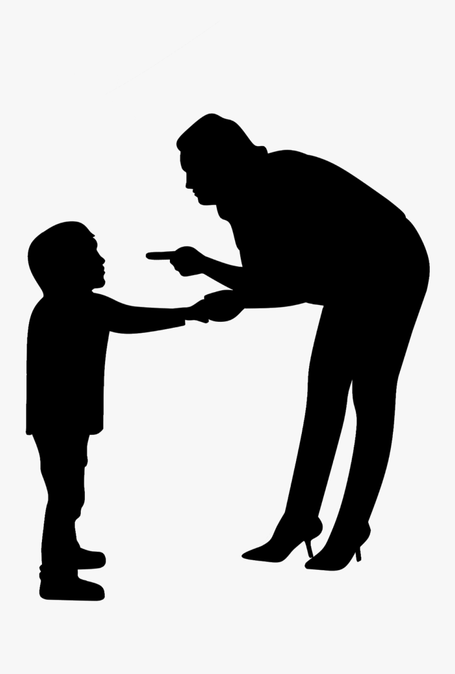 Discipline, Angry, Woman, Mother, Child, Parents, Silhouette, - Parents Angry Children Png, Transparent Clipart