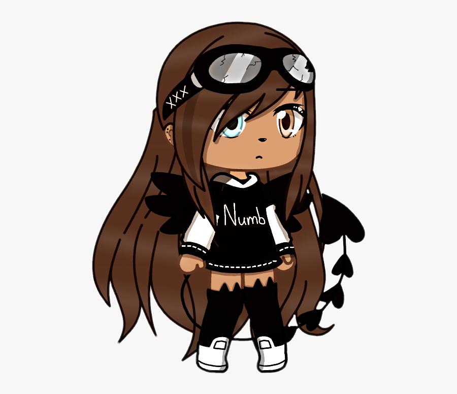 #gachalife #girl #cute #devil #wings #tail #chill #numb - Gacha Girl Cute Shoes, Transparent Clipart