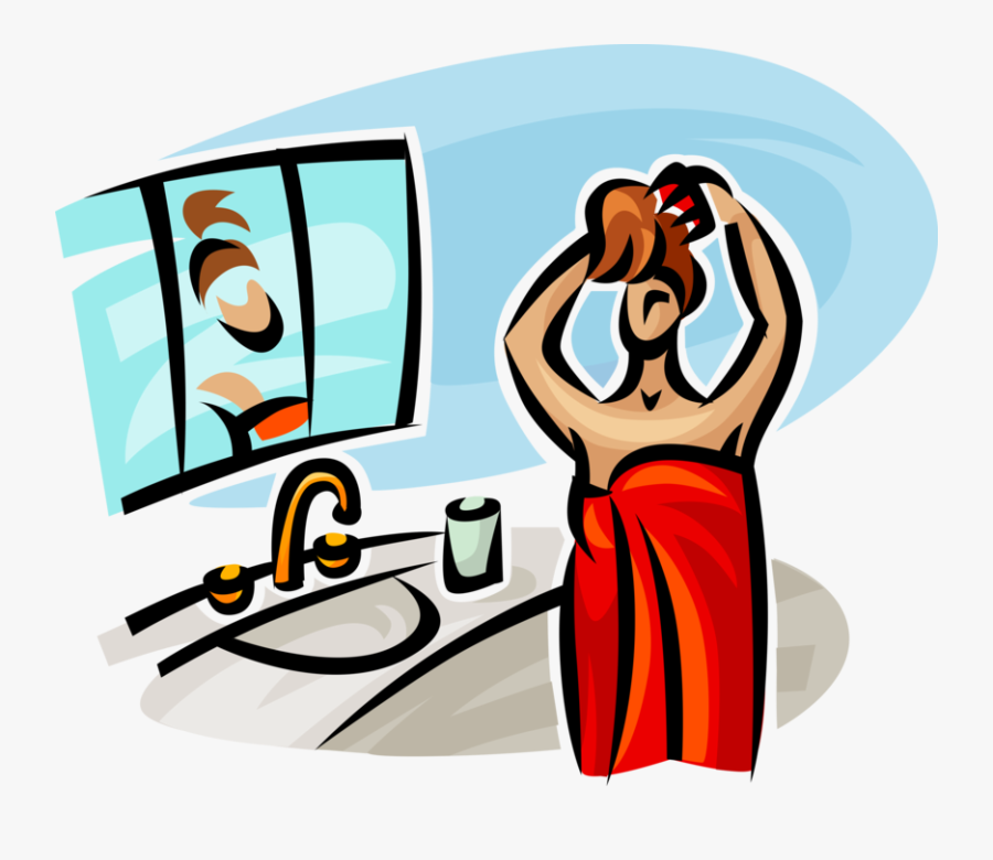 Vector Illustration Of Woman Just Out Of The Shower - Someone Getting Ready Cartoon, Transparent Clipart