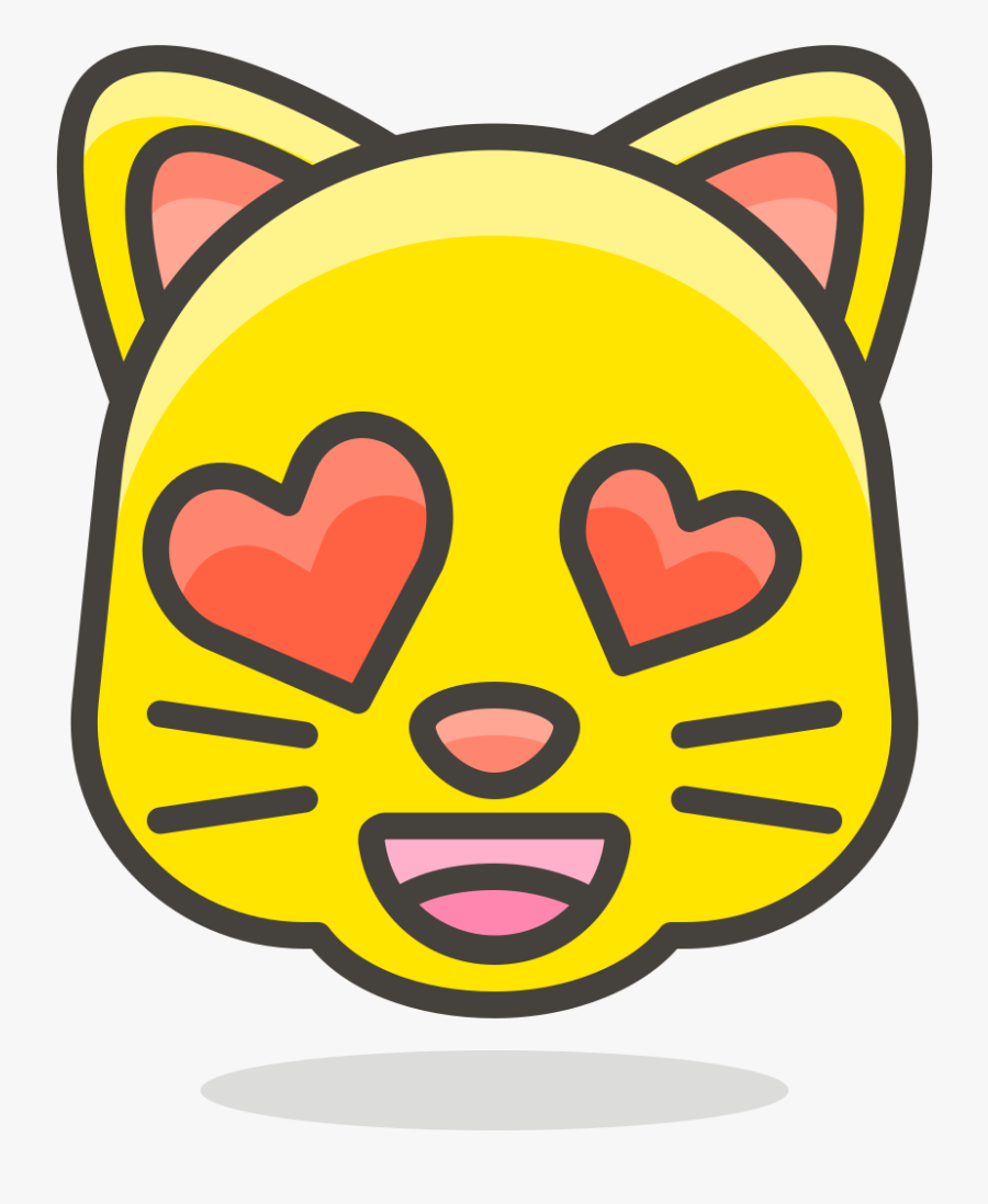 Smiling Cat With Heart Eyes, Transparent Clipart