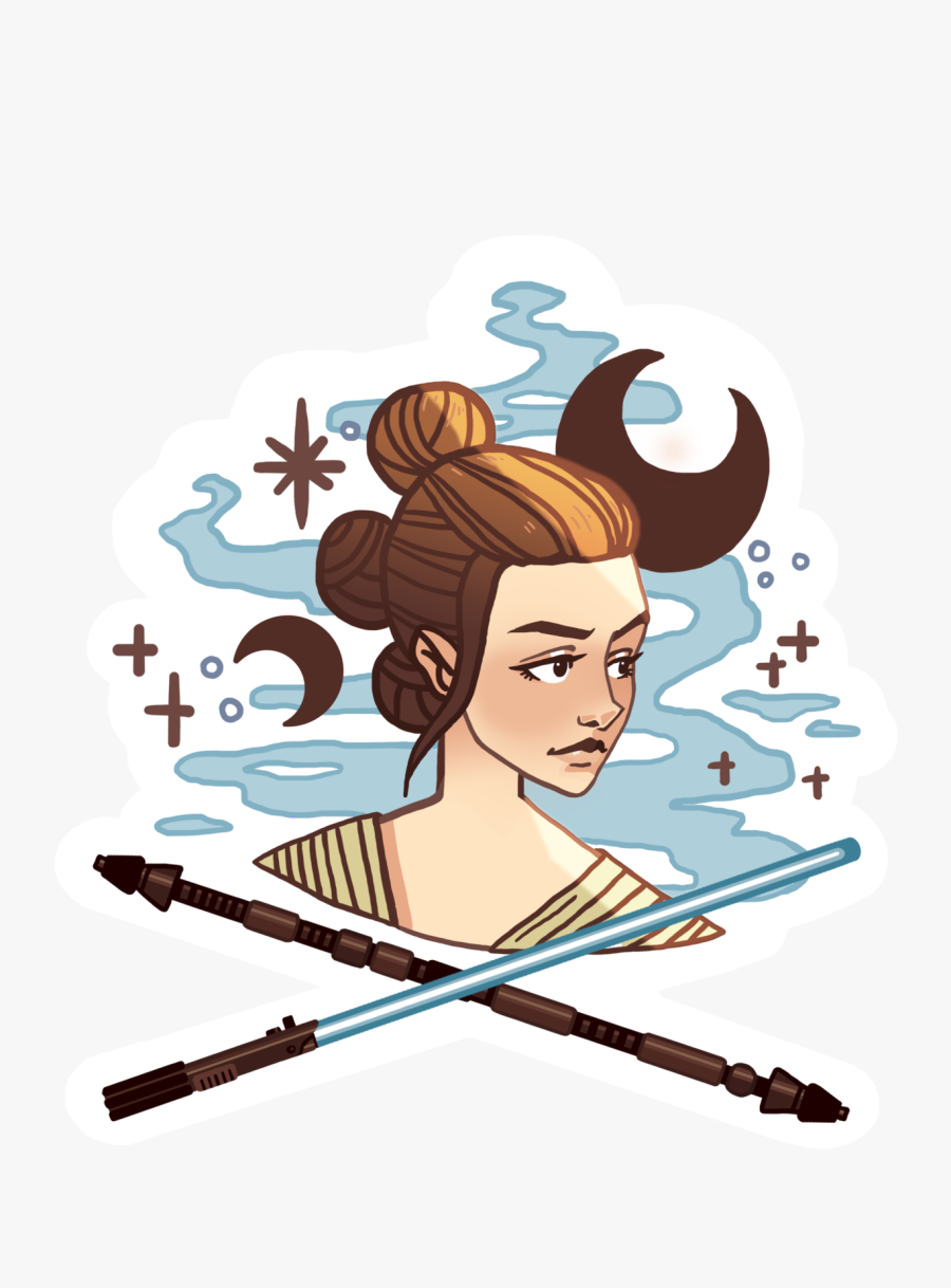 Transparent May The Force Be With You Clipart - Rey Star Wars Sticker, Transparent Clipart