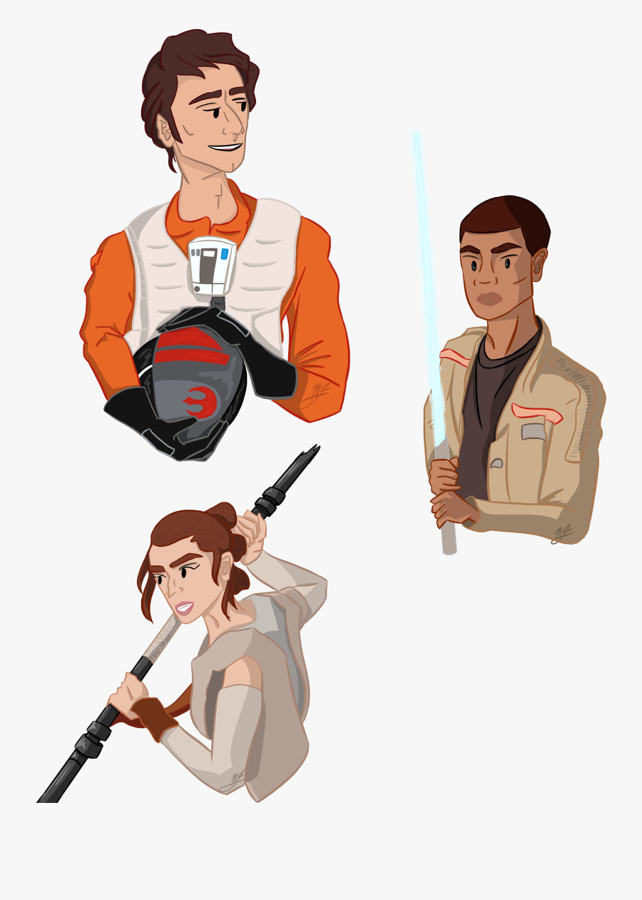 Busts Of Poe, Finn, And Rey From Star Wars - Star Wars Poe Cartoon, Transparent Clipart