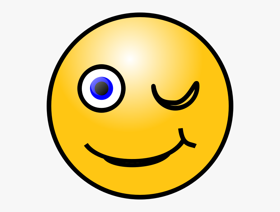 Winking Face Emoticon - Smiley Wink Animated Gif, Transparent Clipart