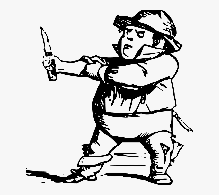 Using Boot Knife - Drawing Of A Midget, Transparent Clipart