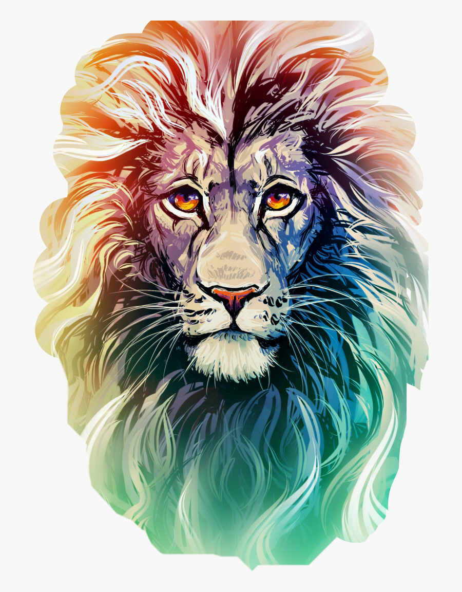 Transparent Lion Head Roar Png - Color Lion Face Drawing, Transparent Clipart