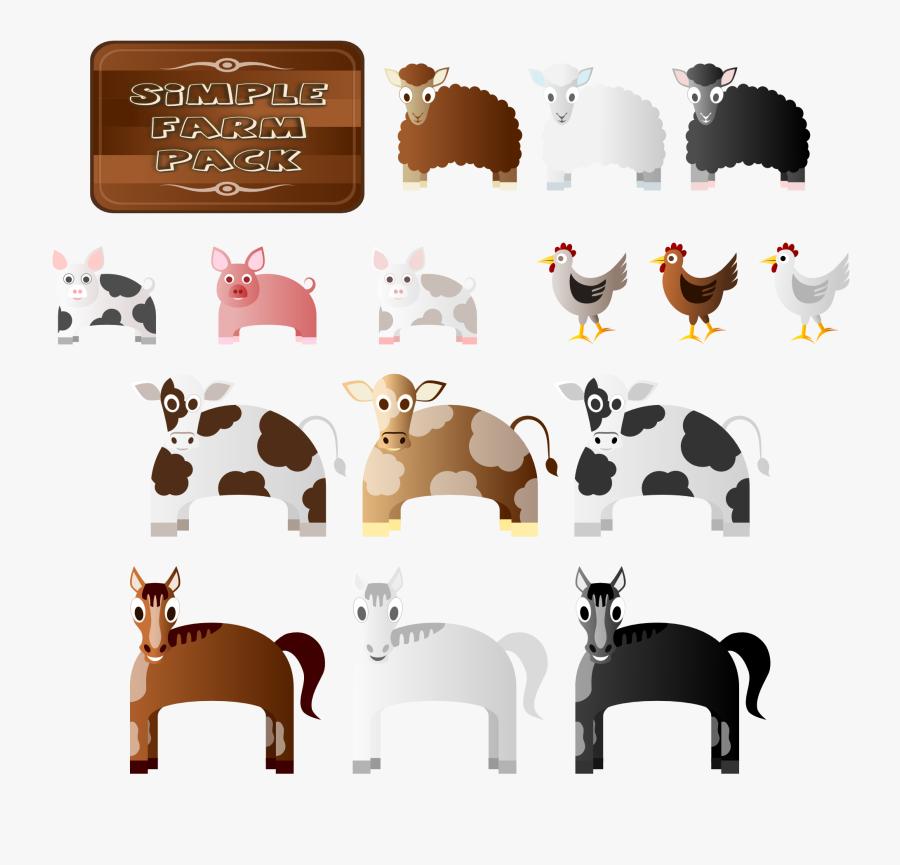 Farmers Clipart Feeding Animal - Farm Animals Icons Png, Transparent Clipart
