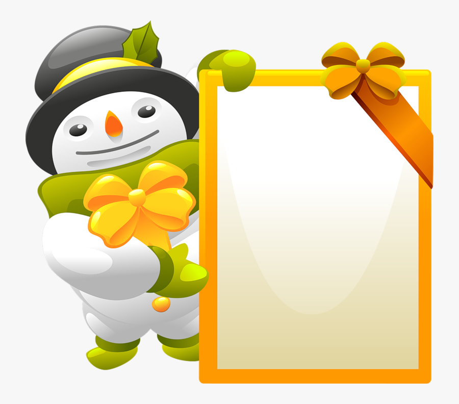 Snowman Clipart With Blank Sign - Christmas Vector, Transparent Clipart