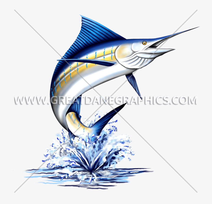 Transparent Fish Jumping Out Of Water Clipart - Marlin Fish, Transparent Clipart