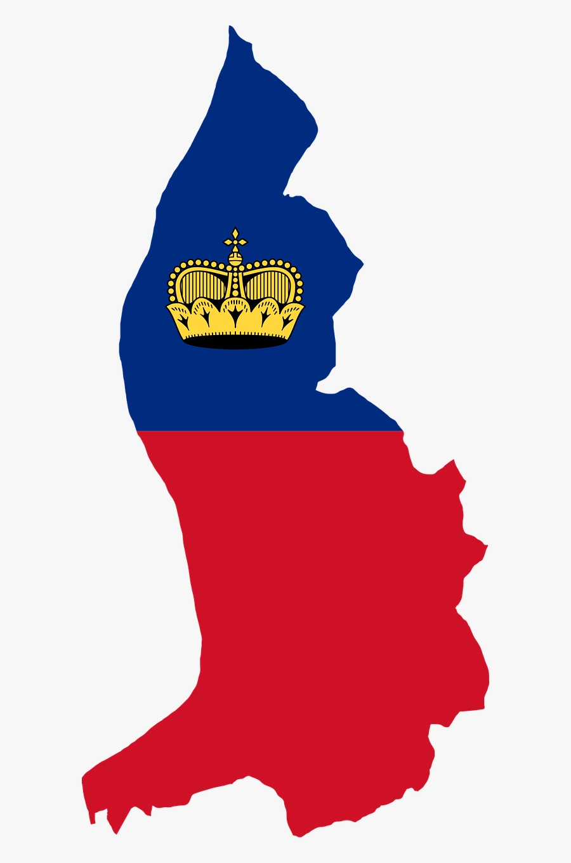 Liechtenstein Map With Flag, Transparent Clipart