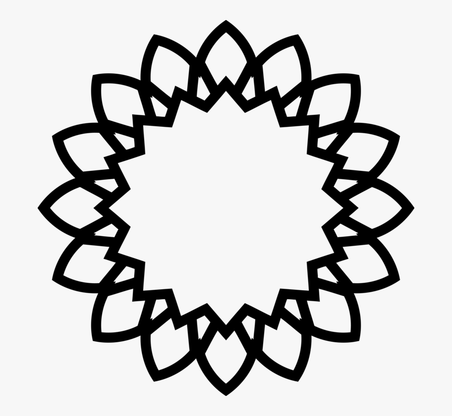 Line Art,circle,symmetry - Outline Image Of Sunflower, Transparent Clipart
