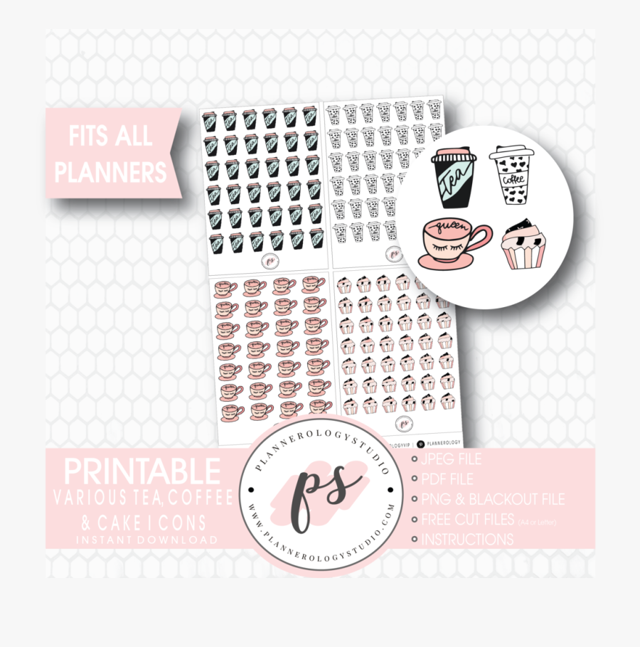 Transparent Planner Clipart - Free Planner Printable Stickers Coffee, Transparent Clipart