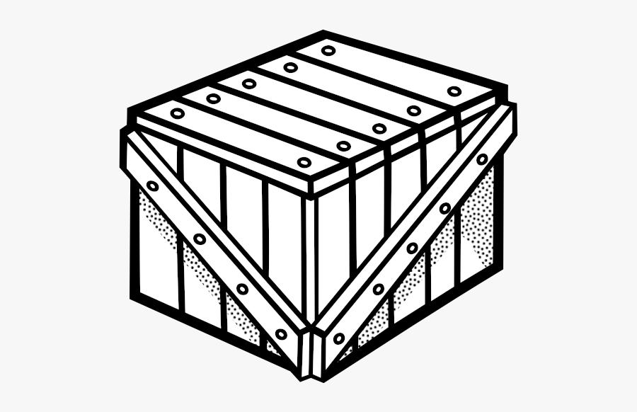 Clip Art Of Wooden Crate Line Art - Crate Clip Art, Transparent Clipart