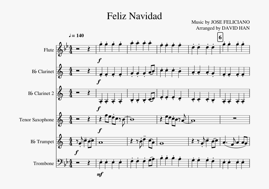 Feliz Navidad Sheet Music Composed By Music By Jose - Big Man On Mulberry Street Trumpet Sheet Music, Transparent Clipart