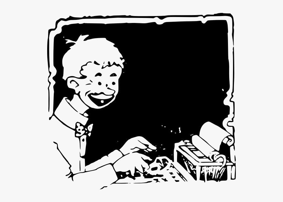 Typing Kid - Illustration, Transparent Clipart