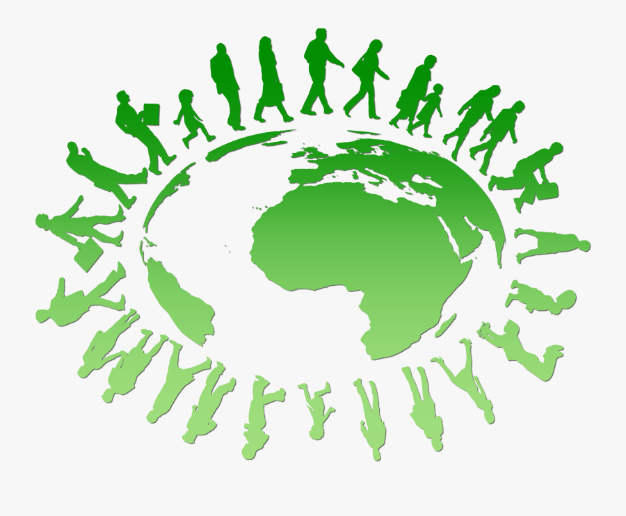 People On Earth Clipart - People Walking Around Earth, Transparent Clipart