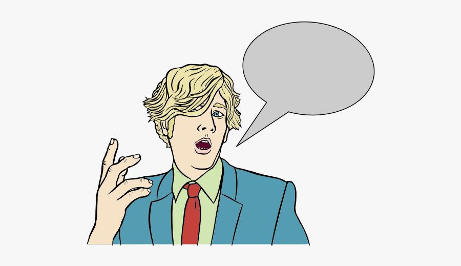 Blond Man With Speech Bubble - Cartoon With Speech Bubble, Transparent Clipart
