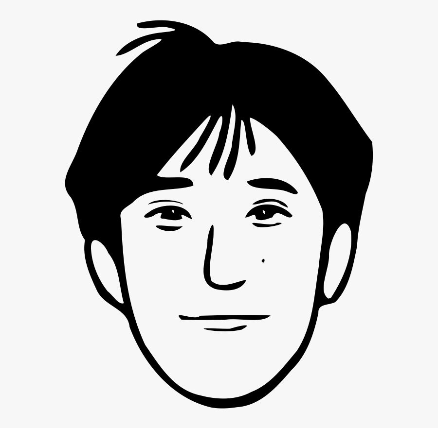 Young Man - Father Face Clipart Black And White, Transparent Clipart