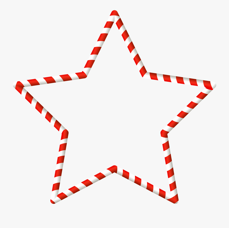 Christmas Candy Cane Star Border Clip Art Image, Transparent Clipart