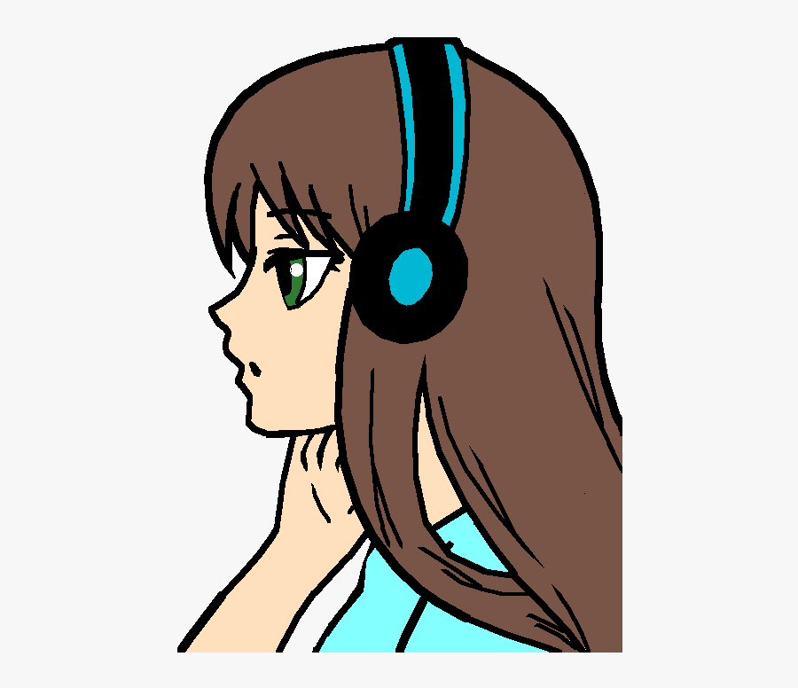 Girl Who Loves Music, Transparent Clipart