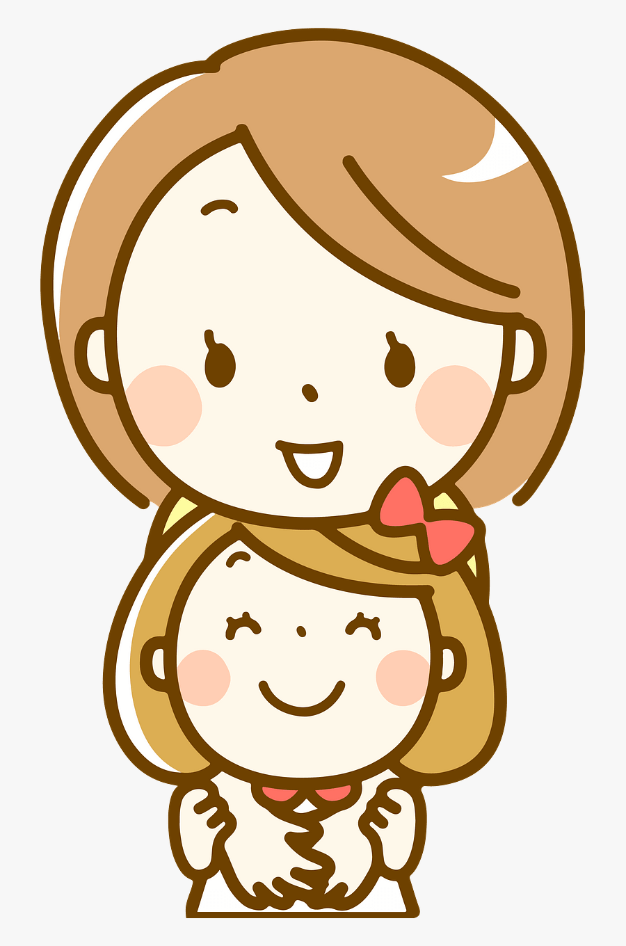 Mother And Daughter Cartoon Drawing Free Transparent Clipart Clipartkey