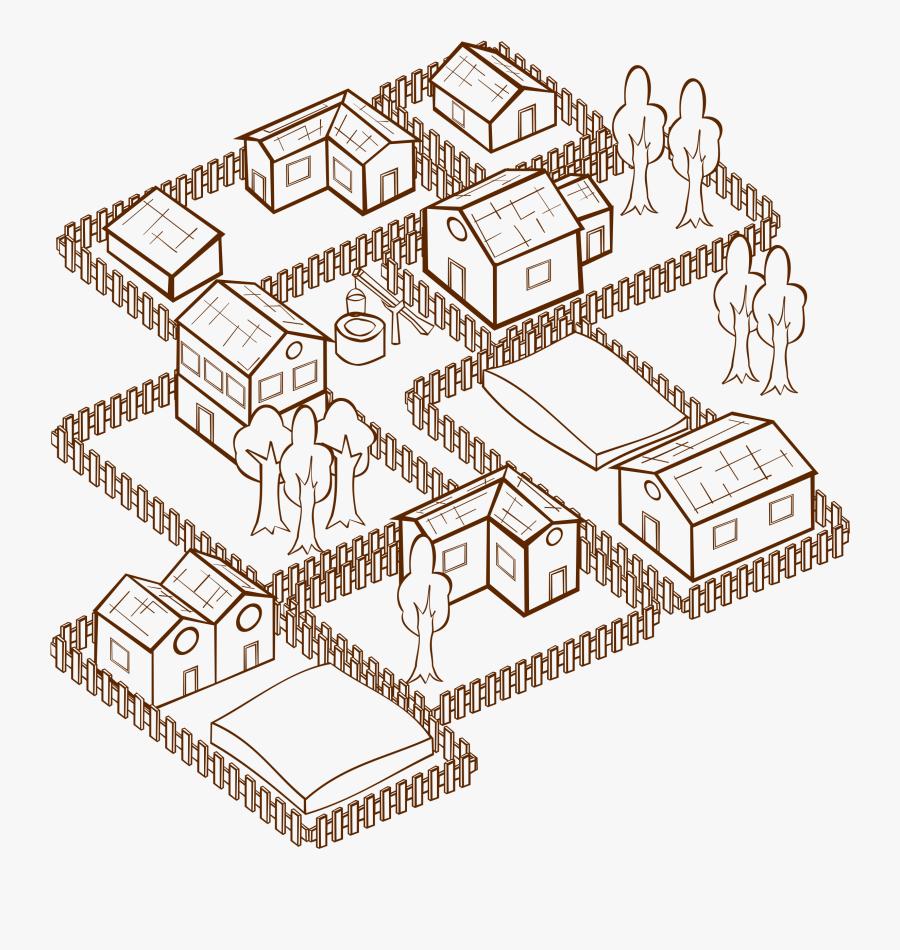 Map Clipart Town - Map Symbol For Village, Transparent Clipart