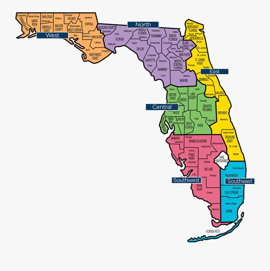 Florida Map - Region Map Of Florida, Transparent Clipart
