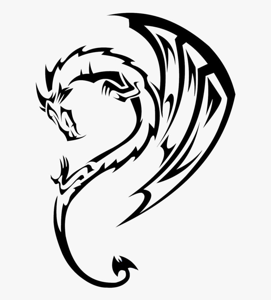 Transparent Dragon Clipart - Easy Dragon Tattoo Drawing, Transparent Clipart