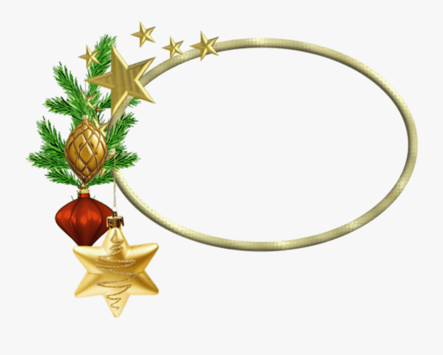 Free Png Oval Christmasframe With Stars Png Images - Gold Christmas Border Png, Transparent Clipart