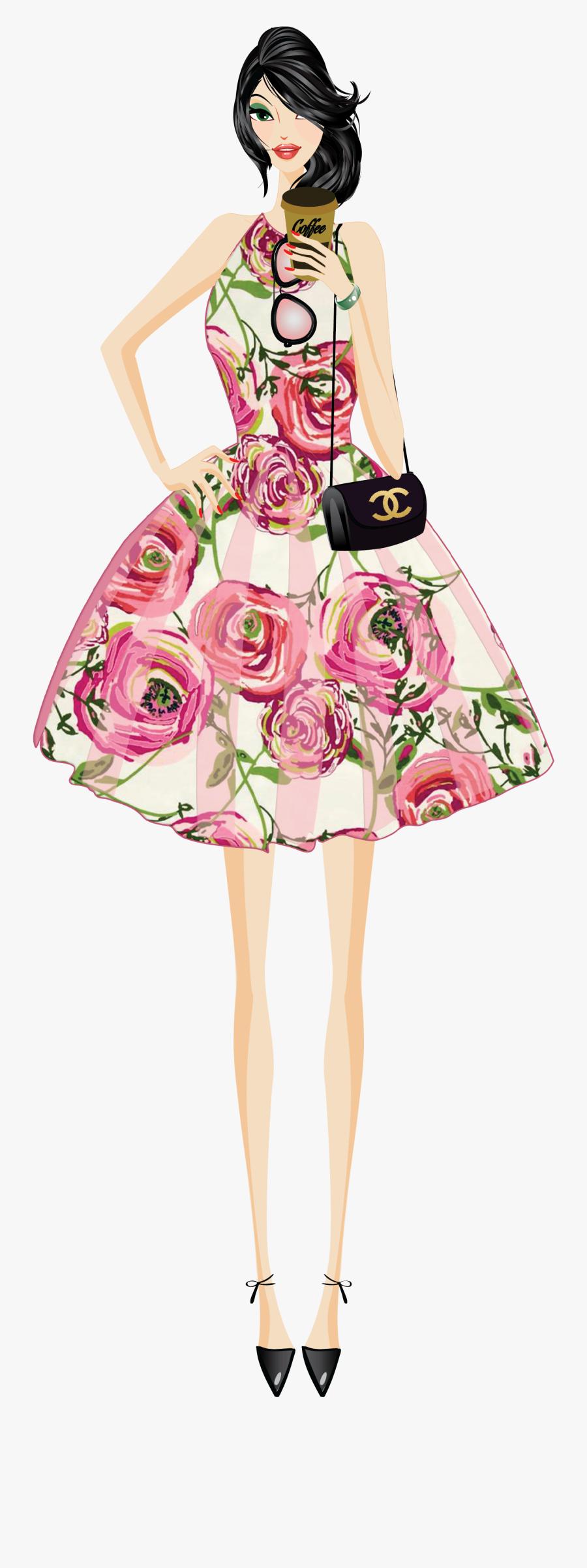 Fashion Clipart Mini Dress - Fashion Girl Vector Png, Transparent Clipart