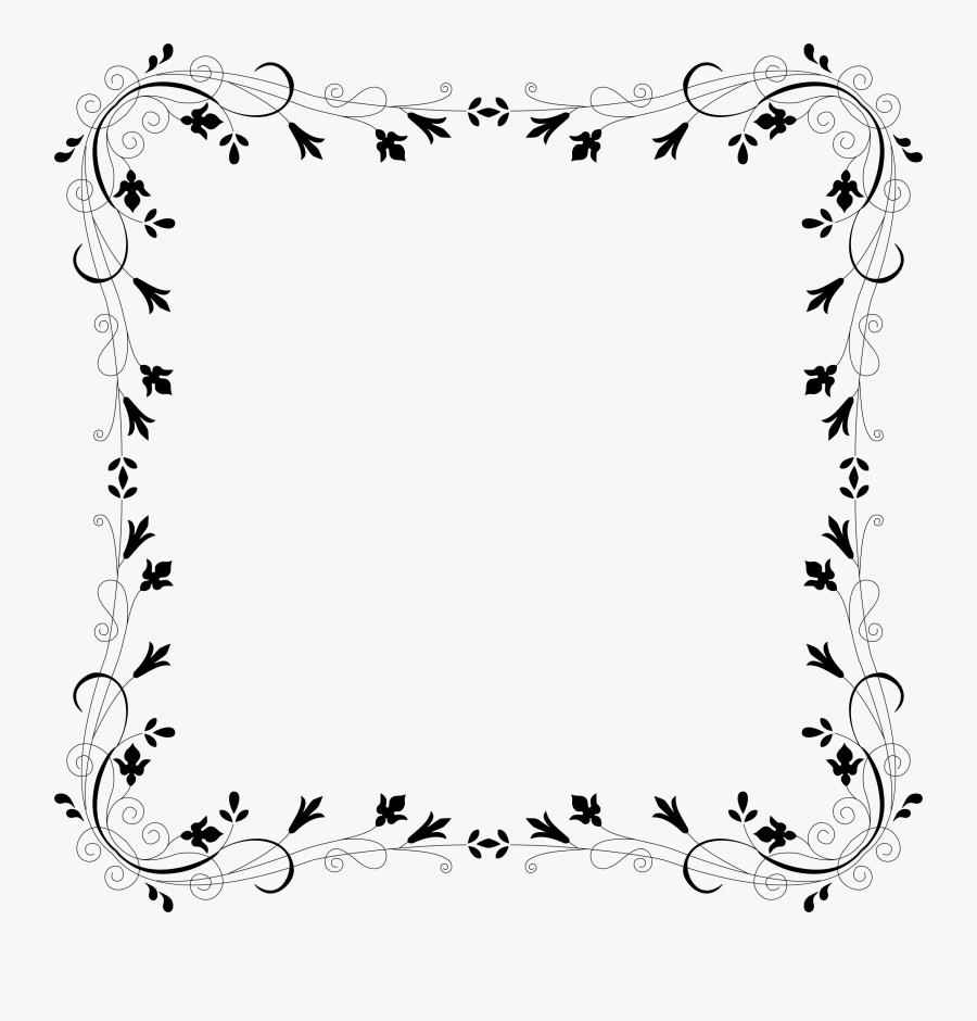 Border Design Flower Black And White Clipart , Png - Border Design For Frames, Transparent Clipart