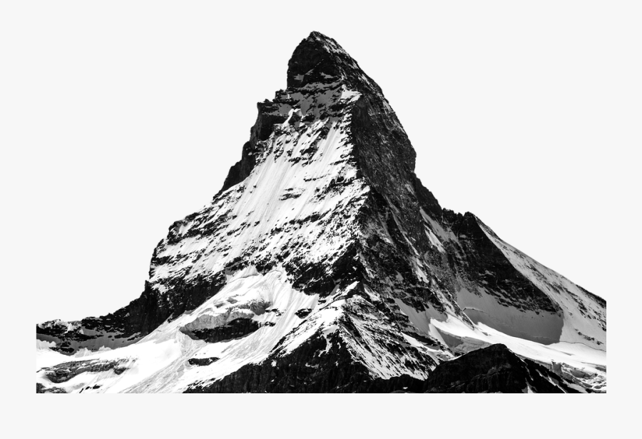 Mountainous Landforms Png Images - Black And White Snow Capped Mountains, Transparent Clipart
