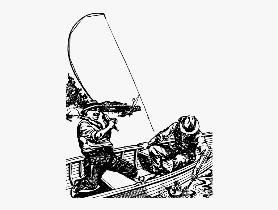 Two Men Fishing Off A Boat In A Lake Vector Graphics - Two Men Fishing Drawing, Transparent Clipart