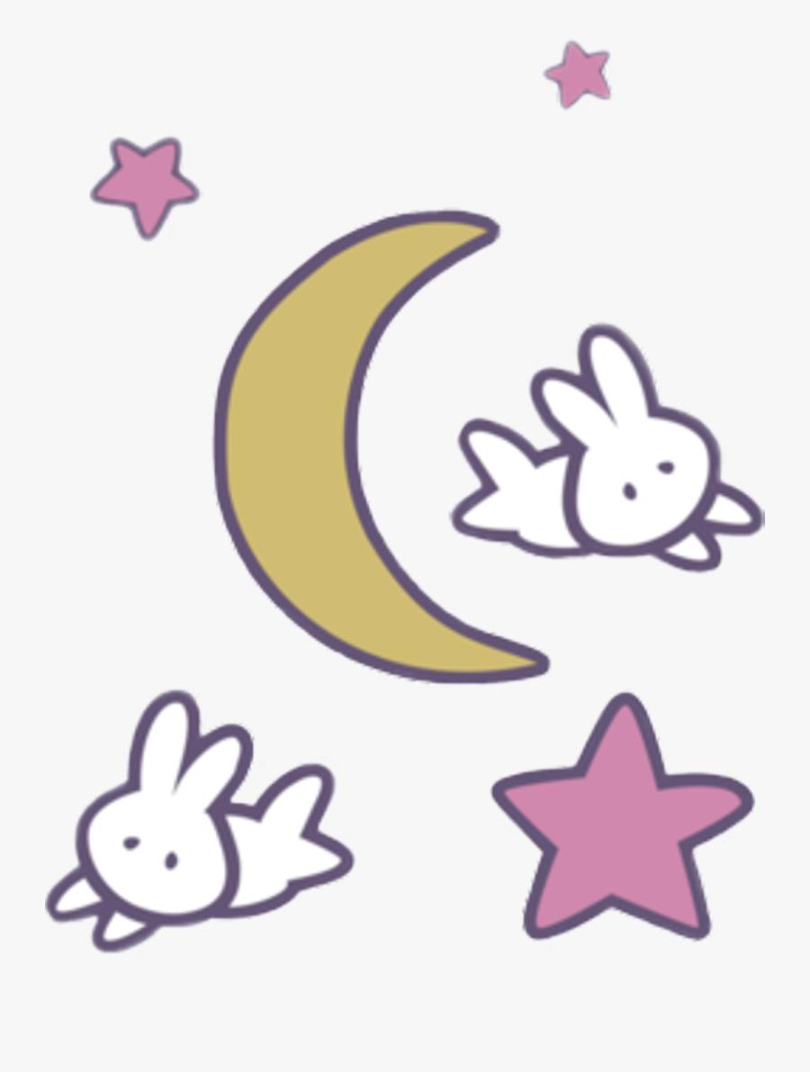 #sailormoon #anime #kawaii #moon #stars #rabbits #rabbit - Kawaii Sailor Moon Transparent, Transparent Clipart