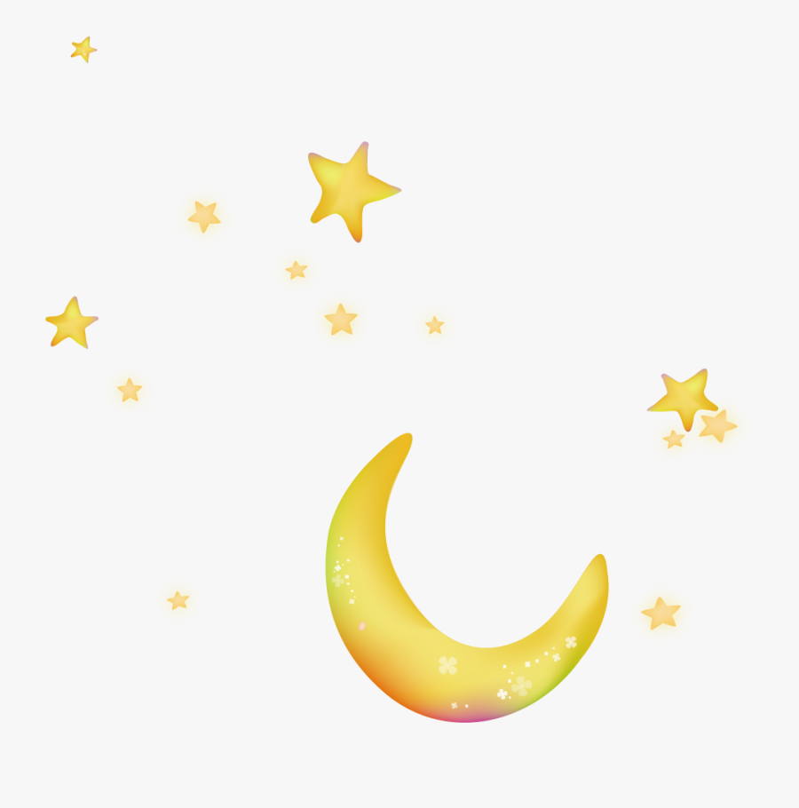 Moon Night Sky Star - Transparent Stars And Moon, Transparent Clipart