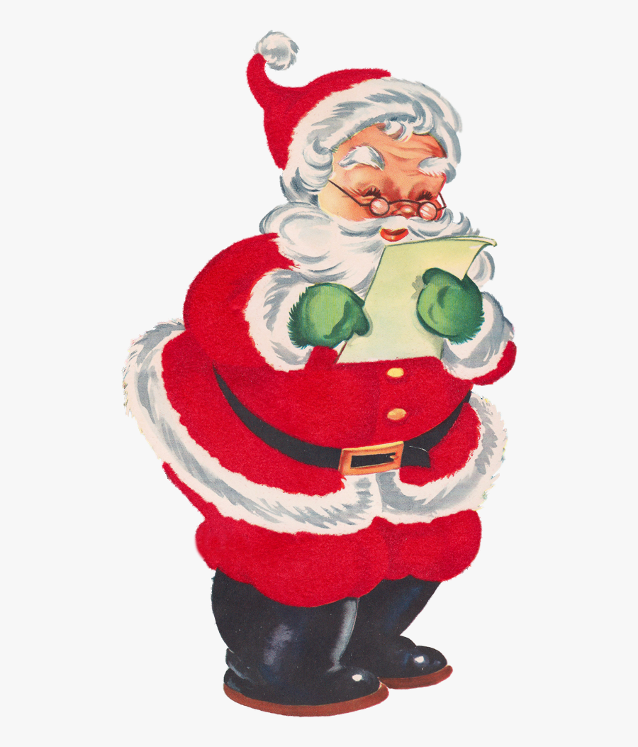 Santa With List Clipart, Transparent Clipart