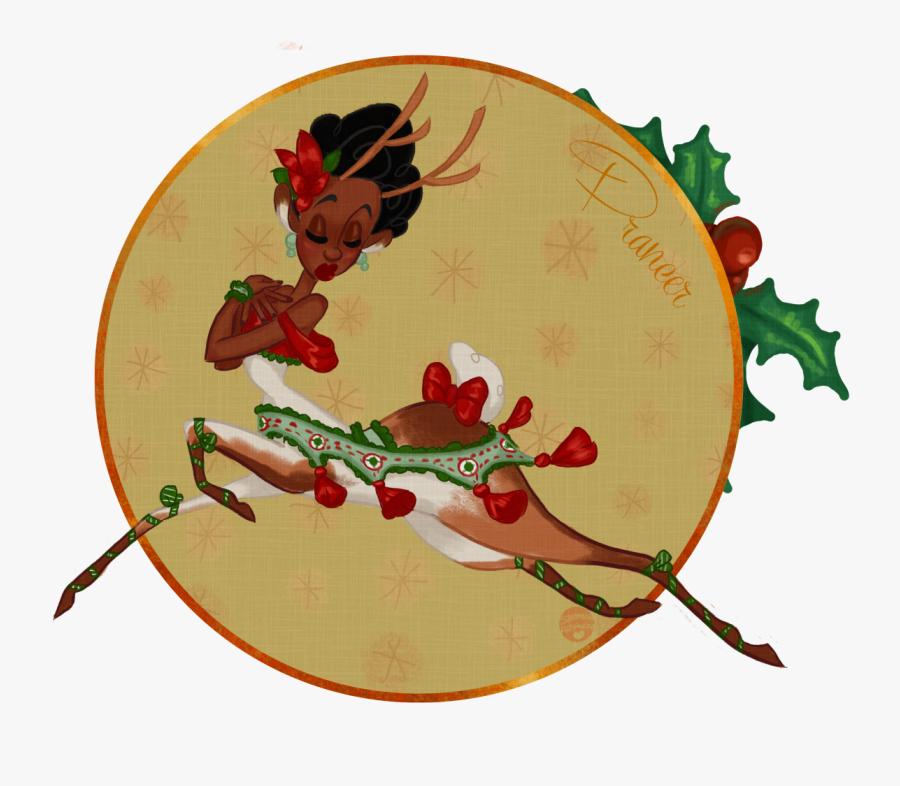 Christmas Reindeer Santa Festive Vintage Holidays Clipart - Christmas Day, Transparent Clipart