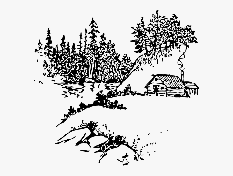 Log Cabin Clip Art - Cabin In The Woods Outline, Transparent Clipart