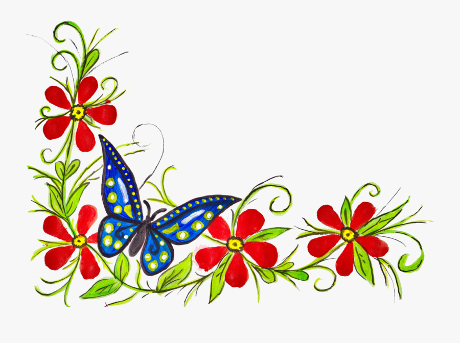 Border Design With Flowers And Butterfly, Transparent Clipart