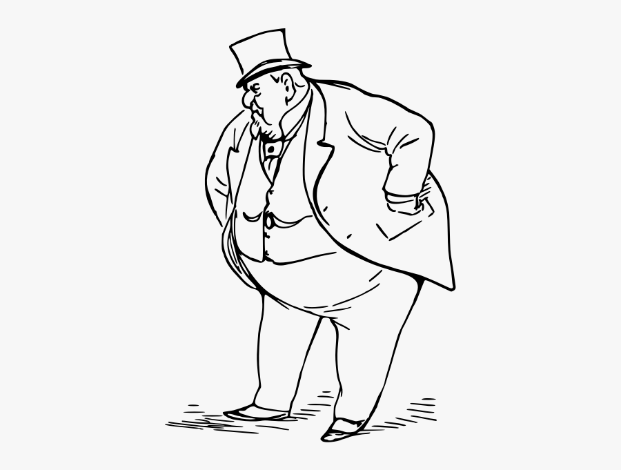 Fat Man - Fat Man Black And White, Transparent Clipart