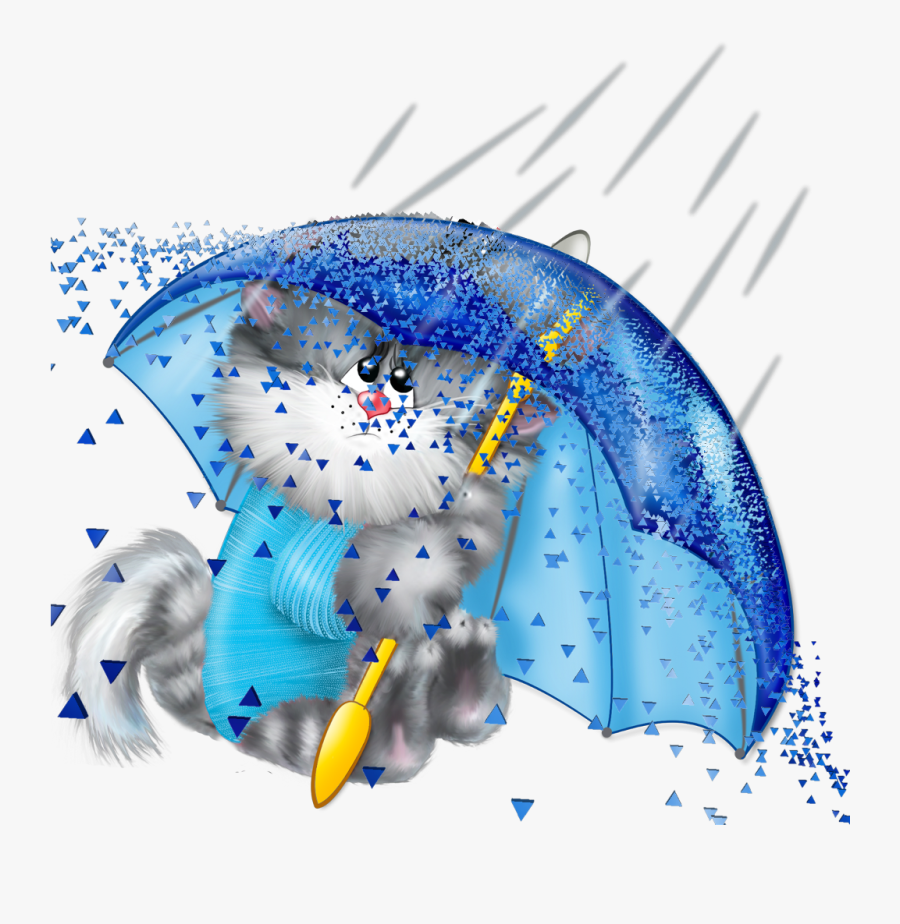 Cat Rain Umbrella Dispersion Ftestickers - Cat In Rain Clipart, Transparent Clipart