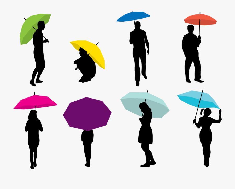 Silhouette Umbrella Woman - Rain Couple Umbrella Silhouette, Transparent Clipart